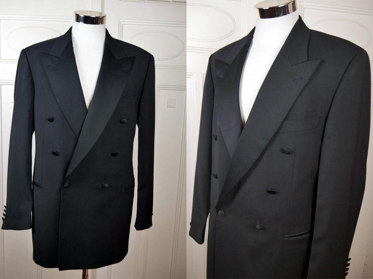 Vintage Hugo Boss Double-Breasted Tuxedo Jacket, Black Dinner Jacket w Silk Peak Lapels, Black Smoking Jacket: Size XL, 42 (US, UK) by YouLookAmazing on Etsy