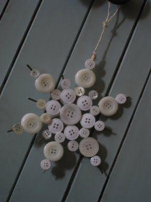 DIY Button Snowflake #Christmas Ornament from Shanty-2-Chic.com // Easy and cheap Christmas craft!!