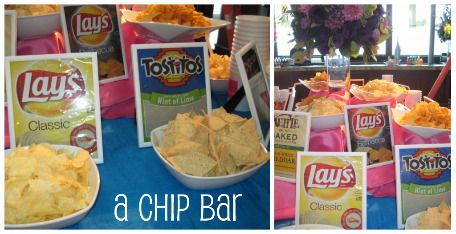 If we have a casual wedding meal such as sandwiches or hamburgers, have a chip bar. (maybe even wedding rehearsal?)