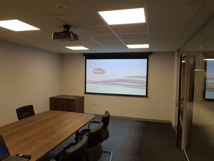 AV Installation Warrington at Enterprise rentacar with the install of a Benq full HD projector, motorised projection screen and four Apart Audio ceiling speakers. #homeaudioinstallation