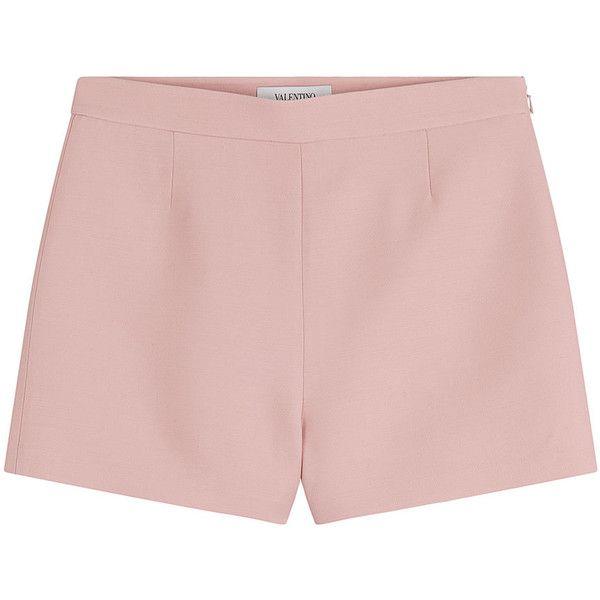 Valentino Wool-Silk Shorts ($345) ❤ liked on Polyvore featuring shorts, bottoms, pants, rose, shiny shorts, silk shorts, anchor shorts, zipper shorts and slim fit shorts