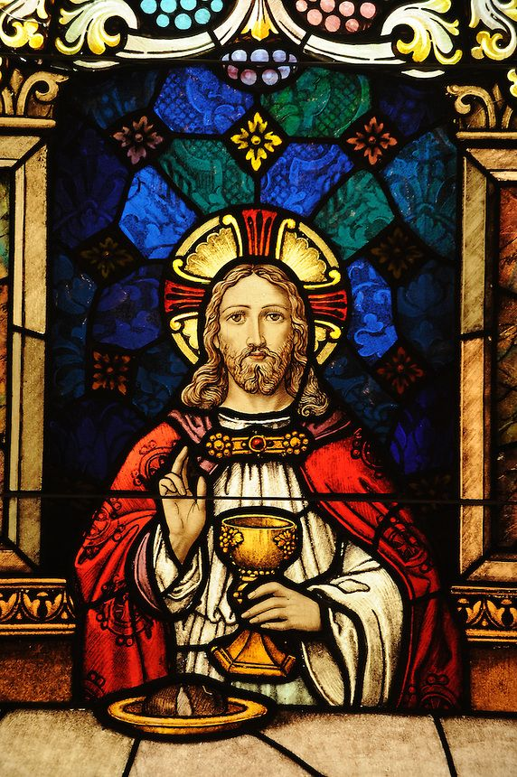 Jesus depicted at the Last Supper in a stained glass image at St. John the Evanglist Church in Howard. (sam Lucero photo)