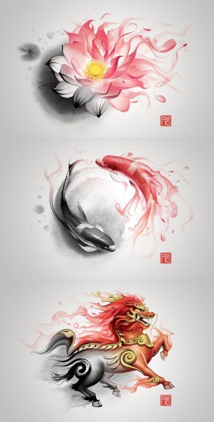 #Lotus #koi #dragon #art