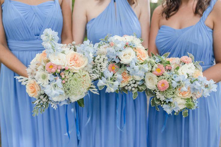 David's Bridal Versa dress in Cornflower Blue chiffon