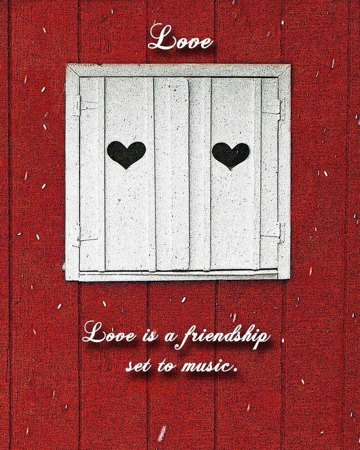 """Two of Hearts with Customizable Love Quote. Perfect Valentine's Day gifts. Pretty white window shutters with hearts against a red barn with snow falling. Quotes about love are written on the image. """"Two of Hearts with Love Quote"""" is a digital color photograph that has been slightly manipulated using software to highlight certain characteristics of the image. Choose from the following quotes: (1) Faith makes all things possible,love makes them easy. (2) Gravity is not responsible for…"""