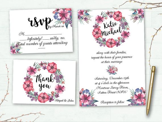 Floral Wedding Invitation Printable Wedding by CakeToppersJust4You