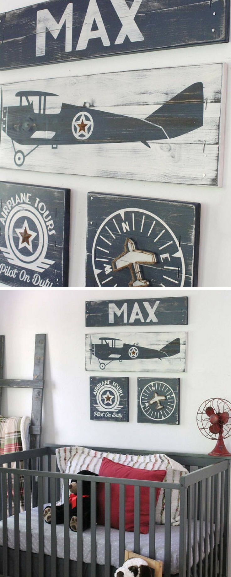 Airplane boys room! Vintage style!  #airplanes #boy #room #nursery #art #decor #ad #etsy