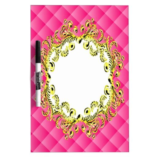Pink 3D Squares Gold Vintage Frame Dry Erase Whiteboards - This design features pink butterflies with white wings sitting on a rainbow and black, curly, swirly leaves. The background has a pink and white tartan style with lots of pretty pink butterflies arranged in a pattern all over.