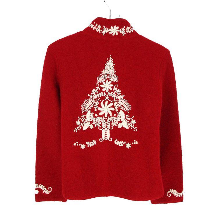 Christmas Tree Sweater Womens: Coldwater Creek Petite Medium M Sweater Cardigan Womens PM