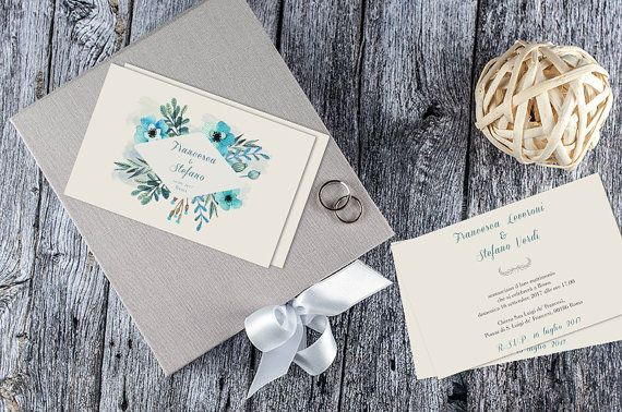 Blue Romantic & Floral Wedding Invitation / Vintage Wedding Invitation / Partecipazioni matrimonio / Printable Wedding Invitations