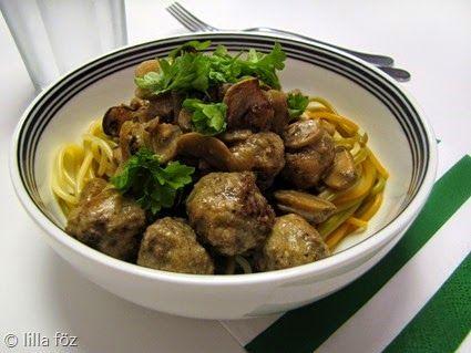 Húsgolyós-gombás tészta | darált marhahús, gomba, fehérbor