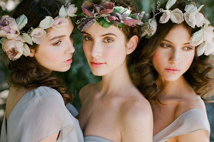 Bridal floral crown -  hairstyle #Wedding #hairstyles #bohowedding