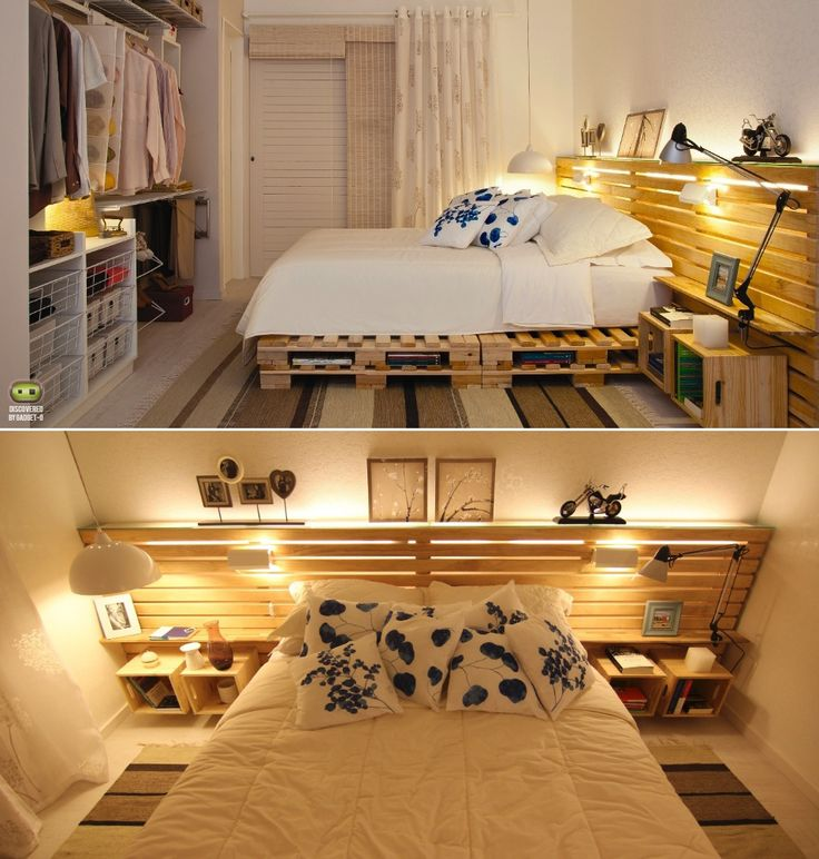 wooden pallets used as a bed frame