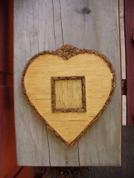 Tramp Art Matchstick Craft Heart Frame Ws Artwork