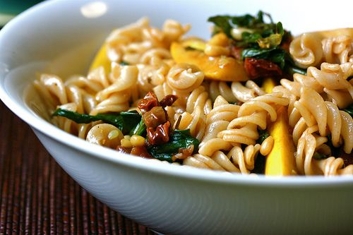 Baby Squash Pasta with Sundried Tomatoes and Wilted Spinach