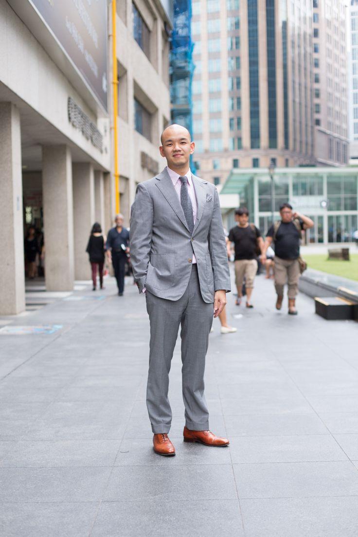Elegantly Grey: Jeremy, Recruiter, Suit is Bespoke, Shirt from Hawes & Curtis, Shoes from Crockett & Jones.  #shentonista #theuniform #singapore #fashion #streetstyle #style #ootd #shentonway #men #bespoke #hawesandcurtis #massimodutti #grey #suited #tailored #classic