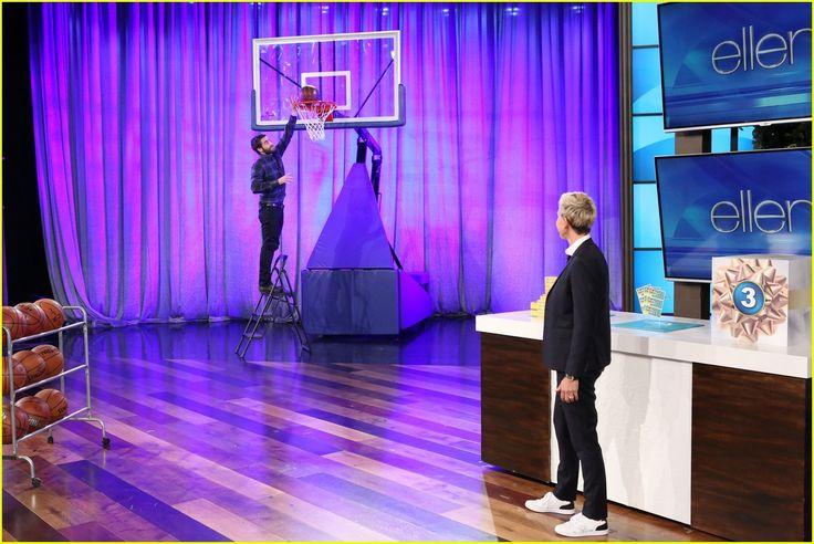 Jake Gyllenhaal dunks on First Team's Storm Arena portable basketball goal on the Ellen DeGeneres show.