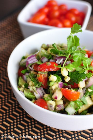 Avocado-Corn-Tomato Salad and Avocado-Cucumber Salad - kitchenconfidante.com.  These salads look like a perfect alternative to potato salad.  Would be wonderful with grilled steakor chicken.