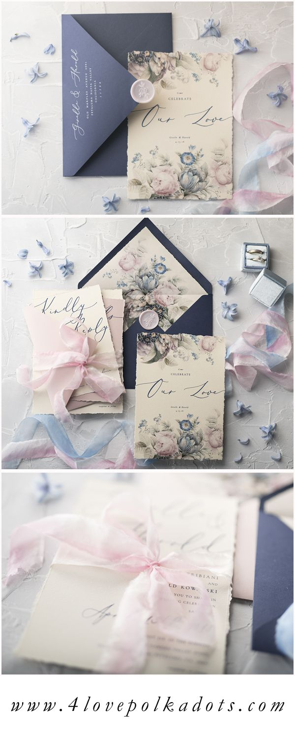 Elegant wedding invitation in romantic Pink & Navy color palette with beautiful modern calligraphy writing and floral accents. Combination of classic and vintage styles #wedding