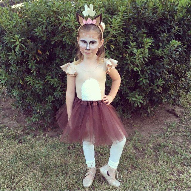 ab8a88aca7 Girls DIY Deer Costume Inspiration. Beige ruffle sleeve leotard by The  Leotard Boutique.