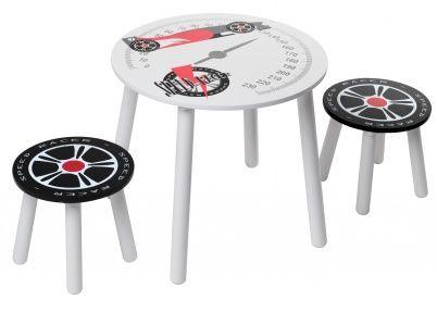 Kidsaw Speed racer kindertafel met 2 stoeltjes   Tafeltjes & stoelen
