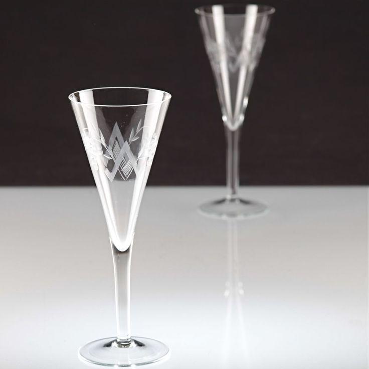 2 Vintage Sektgläser Sektkelche Sektglas Traube Schliff Glas ~ 20er 30er K60