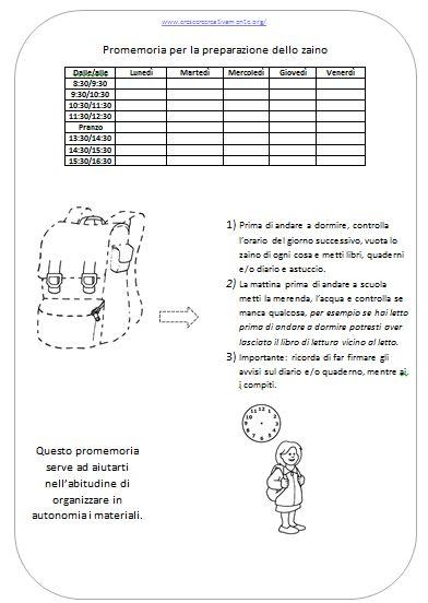 La check list da stampare e plastificare per imparare a organizzare lo zaino