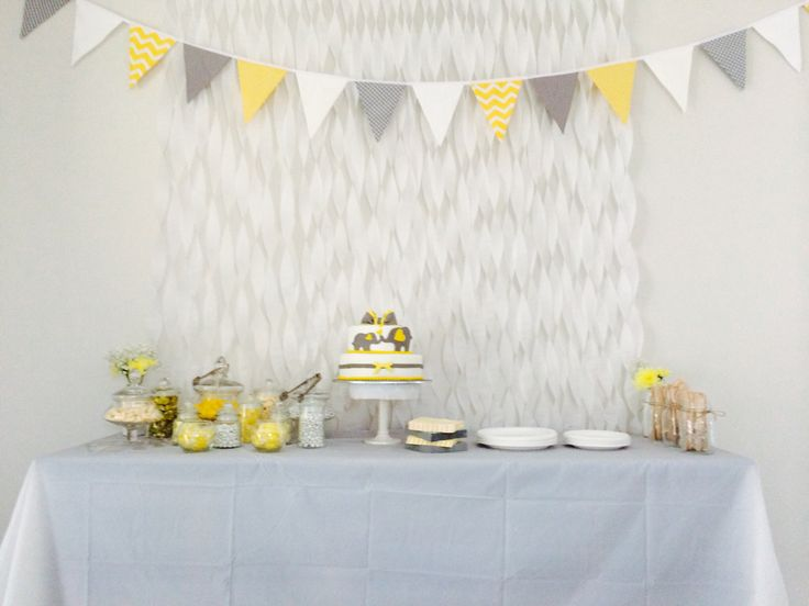 Streamer and bunting cake table with lolly buffet