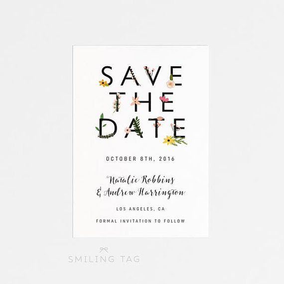 Best  Botanical Save The Dates Ideas On   Typography