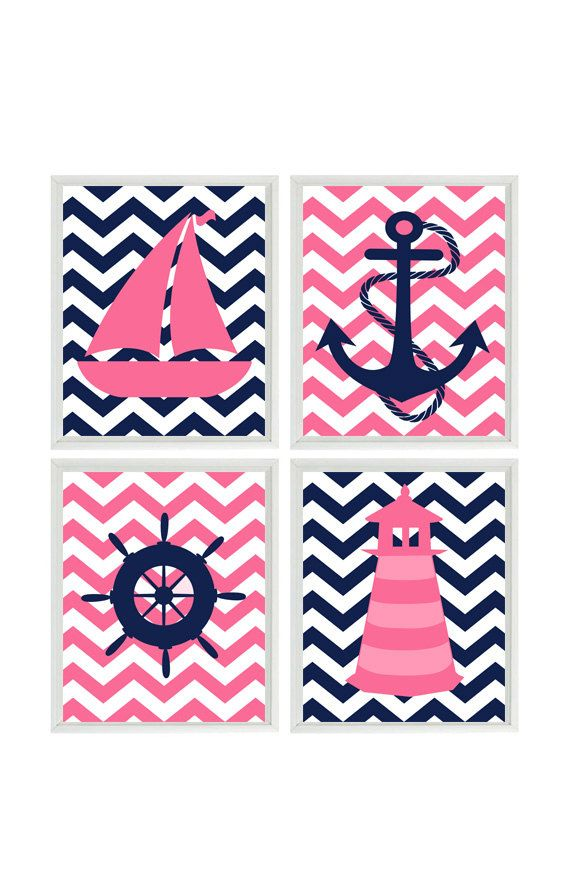Nautical Nursery Chevron Art Print Set - Navy Blue Hot Pink - Anchor Sailboat Lighthouse Wheel - Baby Girl - Wall Art Home Decor Set 4 8x10
