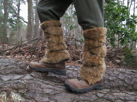 Viking Fur Leggings / Boot Covers Leg Warmers Pair