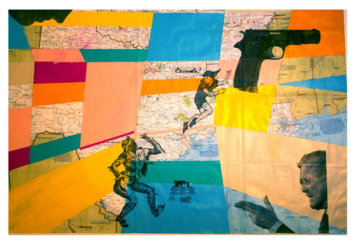 Peter Pan Bus 2014 - acrylic, ink, transfer on map 36 x 24""
