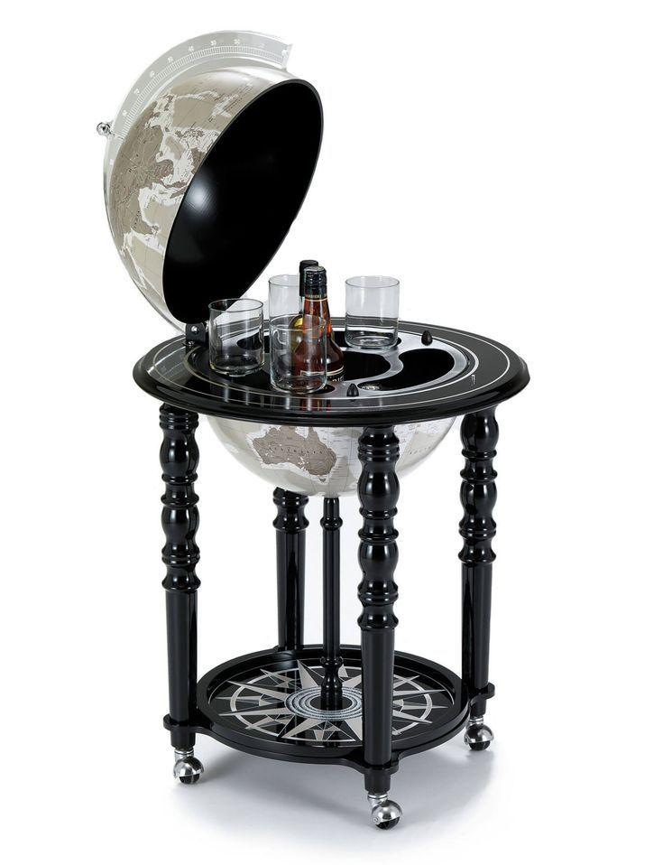 Macarthur Black Italian Globe Bar 40 Cm Weisser Weltkugel