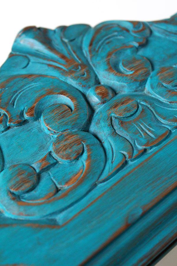 El bazar VINTAGE + CHIC: lámparas, muebles y objetos decorativos 100% vintage!: Antiguo espejo castaño decapado azul · Ref. 8256 · Antique chestnut mirror
