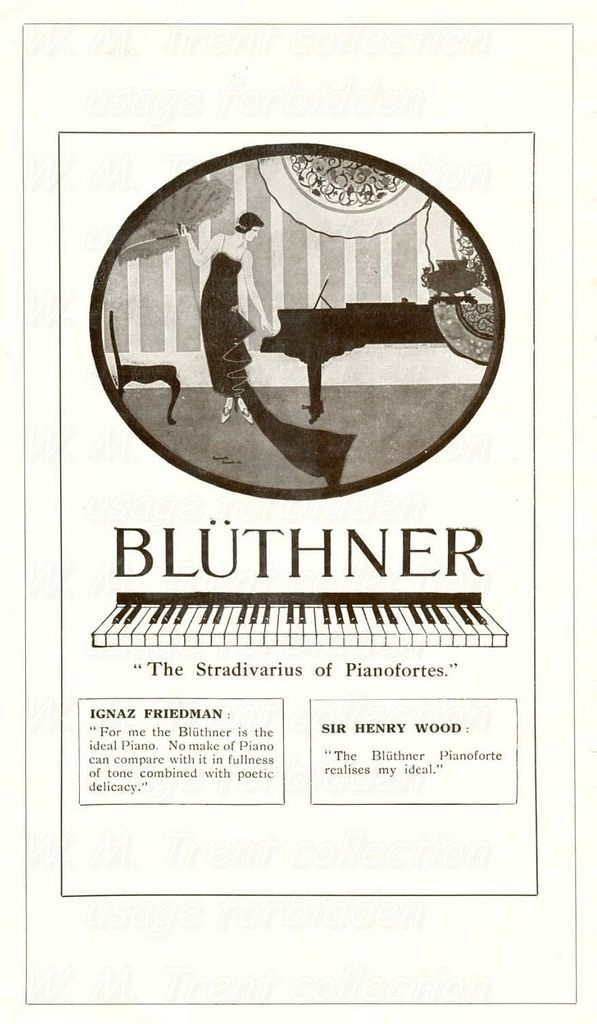 From Manchester in 1926 an advertisements for Blüthner pianos.