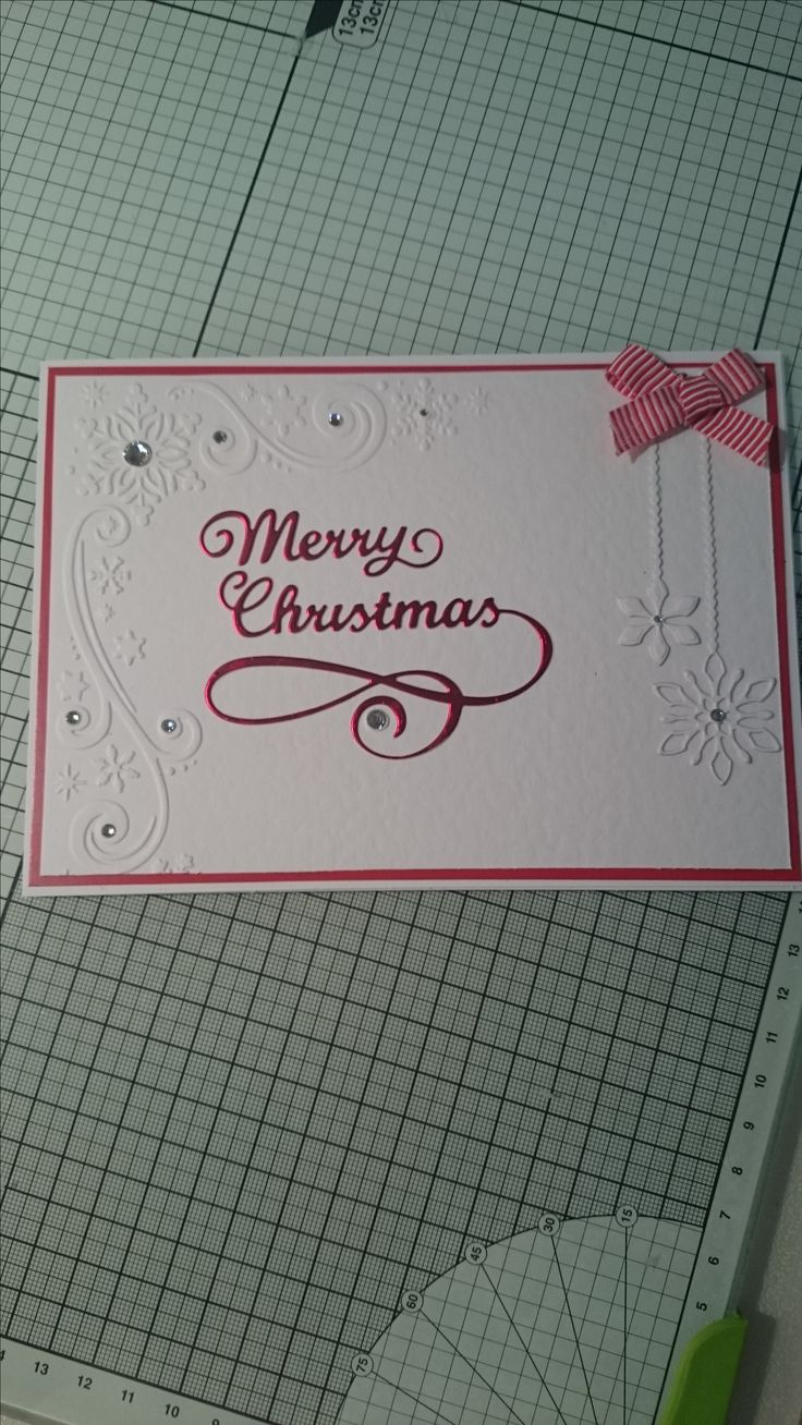 White & red embossed with hanging snowflake christmas card