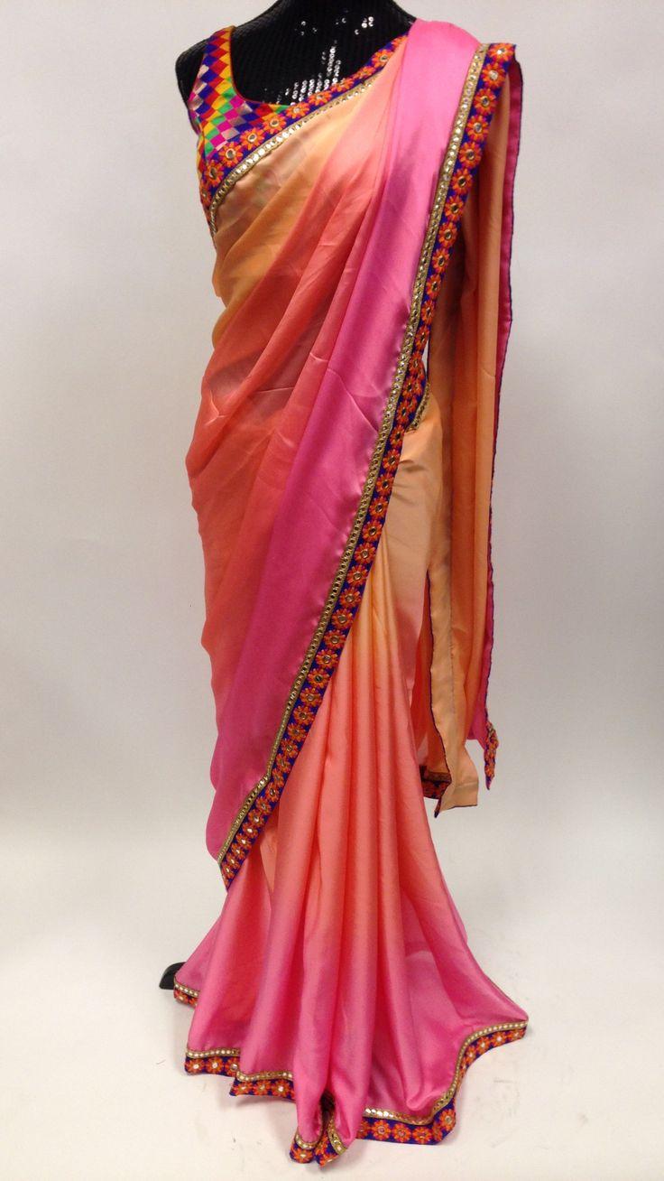 Satin Saree with mirror work - Multi Color