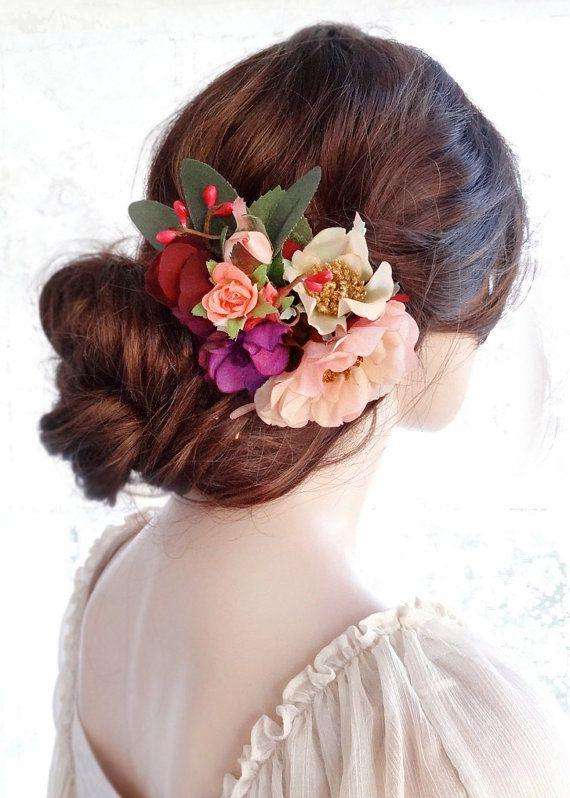 copricapo da sposa fiore, fermaglio per capelli floreale, clip di capelli nuziale, pettine di capelli di nozze, capelli clip fiore, parrucchino matrimonio rustico, coral pesca