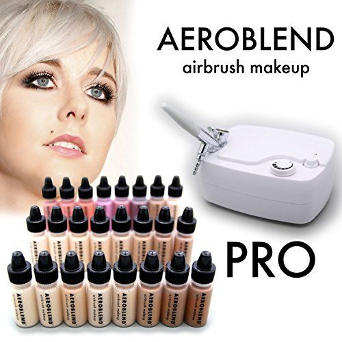 Aeroblend Airbrush Makeup PRO Starter Kit - Professional Cosmetic Airbrush Makeup System - 24 Color - Full 1-Year Warranty *** Be sure to check out this awesome product.