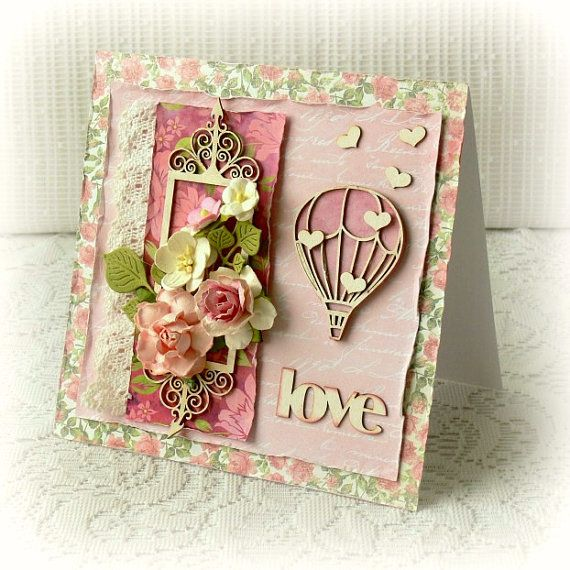 "Handmade Valentine's Day card , wedding card , Love card , aniversary card ,hot air balloon pink colour card 6"" x 6 "" card"