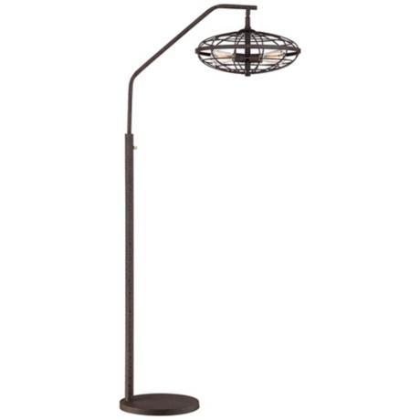 Industrial Cage 3-Light Arc Rust Floor Lamp - Lampsplus.com