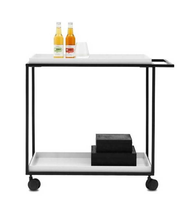 OCCA Mobile Tray Table White Lacquered/matt Black Lacquered