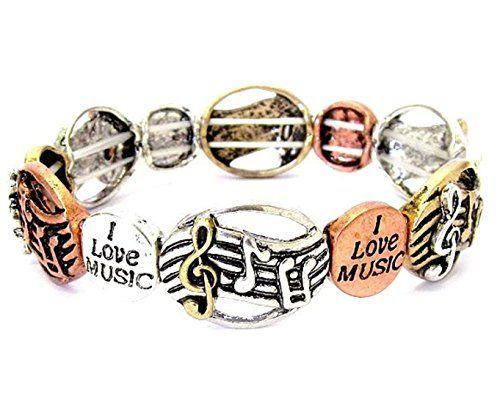 Music Bracelet Stretch Z1 Engraved I Love Music Copper Go... www.amazon.com/...