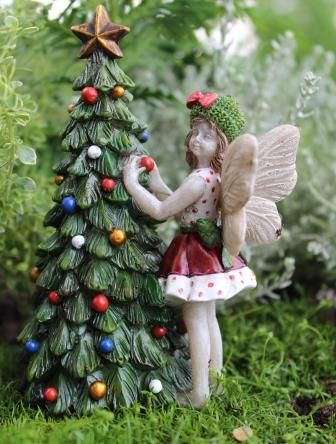 Miniature Fairy Garden Limited Edition Fairy Holly With Christmas Tree.