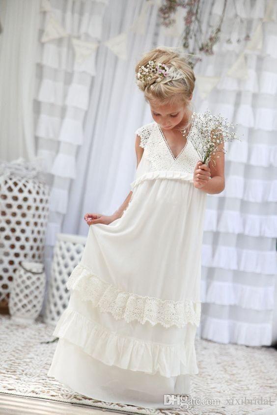 Romantic 2016 New Arrival Boho Flower Girl Dresses For Weddings Cheap V Neck…