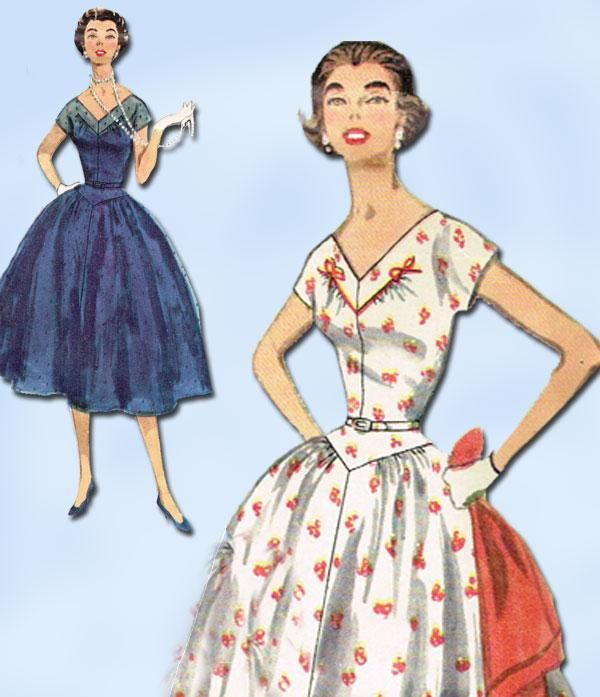 1950s Original Vintage Simplicity Pattern 1116 Uncut Misses Cocktail Dress Sz 14