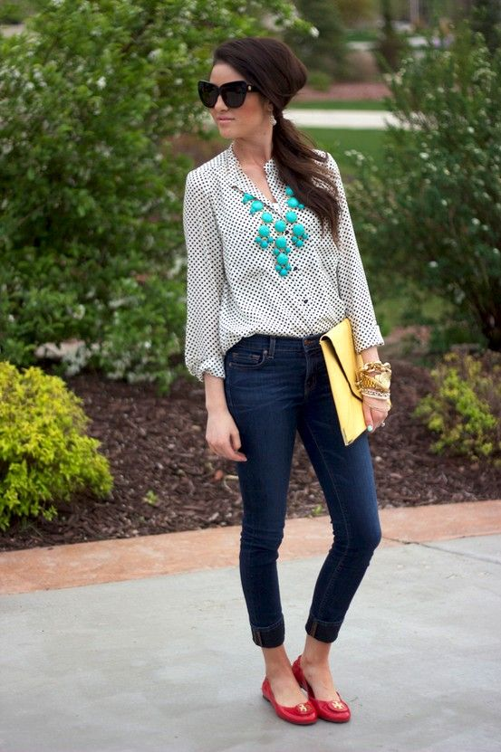 jeans, red flats, turquoise necklace, spotted silk button down: Polka Dots, Fashion, Statement Necklaces, Style, Red Flats, Red Shoes, Primary Color, Outfit, Pink Peonies