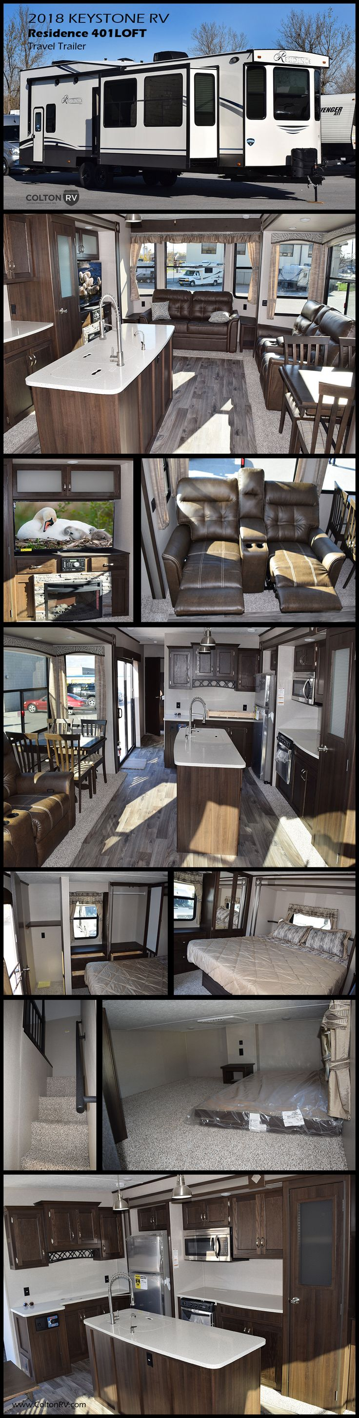 You will immediately feel at home in this beautiful destination trailer by Keystone RV! The large windows and sliding glass door let in loads of sunshine in this 401LOFT Residence Signature Series model. Head up the steps to a loft where you will find two bunk mats with a nightstand between. Along the wall across from the mats there is a space that has been prepped for a TV. The master bedroom has tons of storage and a private entry door which leads outside!