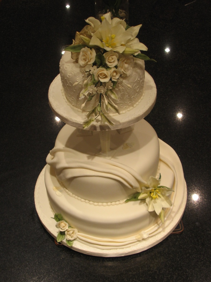Two Tier Ivory Wedding Cake