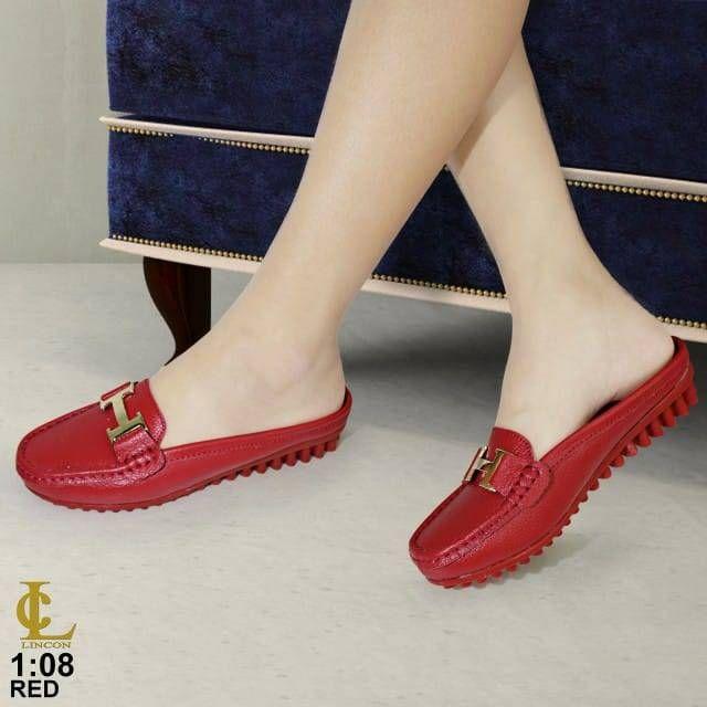Sepatu Slop Lincon A08 Warna Black Orange Pink White Yellow